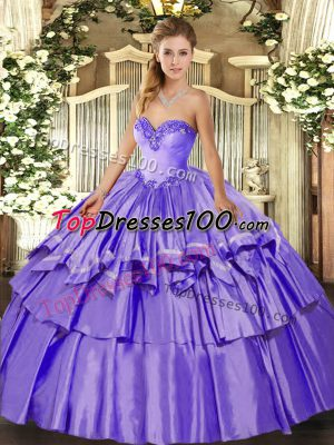 Best Selling Lavender Organza and Taffeta Lace Up Sweetheart Sleeveless Floor Length Quinceanera Dress Beading and Ruffled Layers