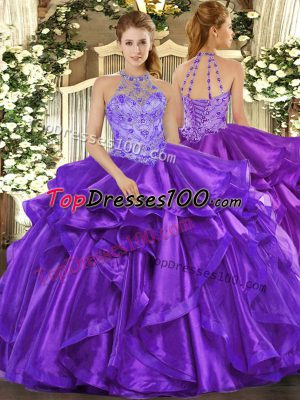 Admirable Floor Length Ball Gowns Sleeveless Purple Sweet 16 Dress Lace Up