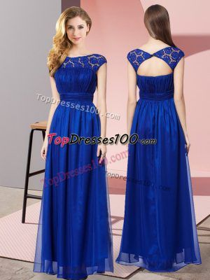 Deluxe Royal Blue Zipper Prom Dress Lace Sleeveless Floor Length