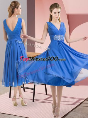 Captivating Knee Length Baby Blue Bridesmaids Dress Chiffon Sleeveless Beading