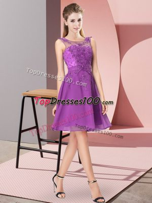 Enchanting Eggplant Purple Empire Appliques Bridesmaid Gown Zipper Chiffon Sleeveless Knee Length
