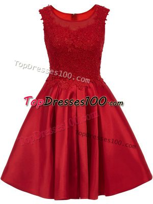 Fitting Wine Red Zipper Scoop Lace Court Dresses for Sweet 16 Satin Sleeveless