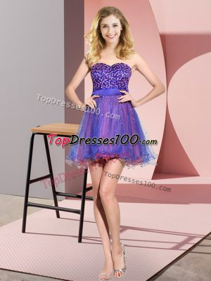 Discount Multi-color Empire Beading and Sequins Bridesmaid Gown Lace Up Tulle Sleeveless Mini Length