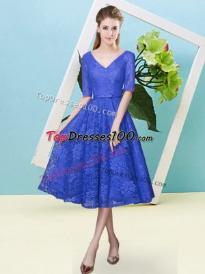 Tea Length Empire Half Sleeves Royal Blue Quinceanera Court of Honor Dress Lace Up