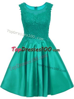 Spectacular Turquoise A-line Lace Quinceanera Court Dresses Zipper Satin Sleeveless Mini Length