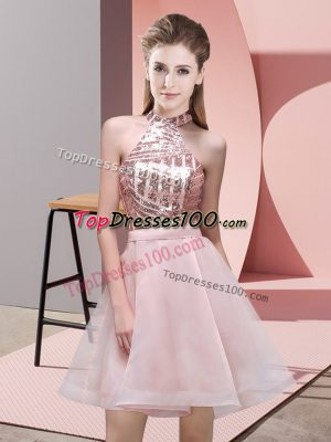 Chiffon Halter Top Sleeveless Backless Sequins Quinceanera Dama Dress in Pink