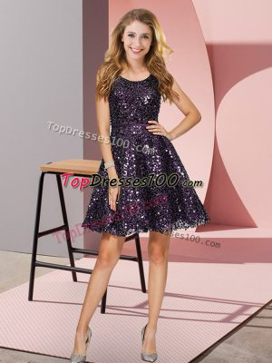 fb81d5bf68a Dynamic A-line Vestidos de Damas Black And Purple Scoop Sequined Sleeveless Mini  Length Zipper