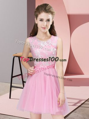 Pink Tulle Side Zipper Quinceanera Court Dresses Sleeveless Mini Length Lace
