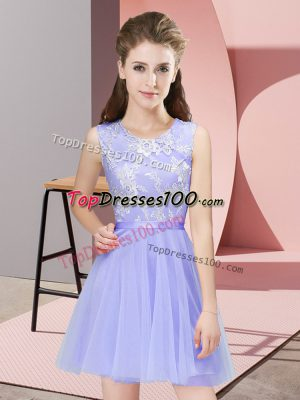 Lavender Side Zipper Vestidos de Damas Lace Sleeveless Mini Length