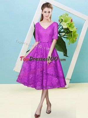 Fuchsia Half Sleeves Tea Length Bowknot Lace Up Quinceanera Dama Dress