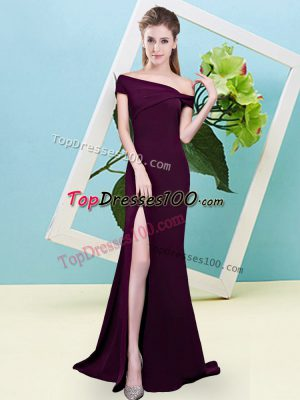 Chic Off The Shoulder Sleeveless Zipper Bridesmaid Gown Burgundy Elastic Woven Satin