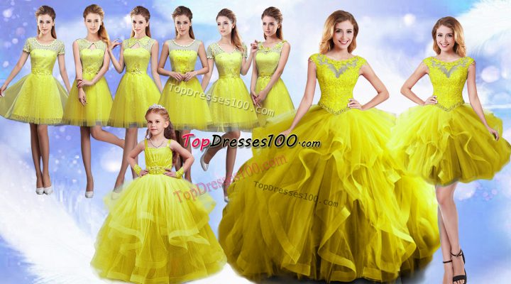 Fabulous Yellow Ball Gowns Beading and Ruffles Quinceanera Dresses Lace Up Organza Sleeveless Floor Length