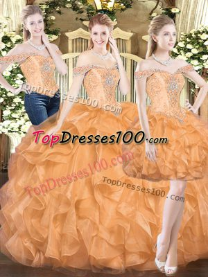 a4e517ac92 Sophisticated Off The Shoulder Sleeveless Organza Ball Gown Prom Dress  Ruffles Lace Up