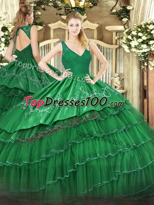 Low Price V-neck Sleeveless Quinceanera Gown Floor Length Beading and Lace and Embroidery and Ruffled Layers Dark Green Organza and Taffeta