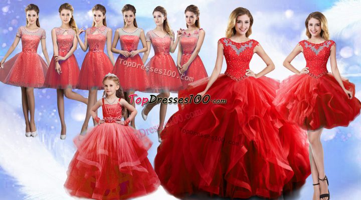High End Ball Gowns Quinceanera Gowns Wine Red Scoop Organza Sleeveless Floor Length Lace Up