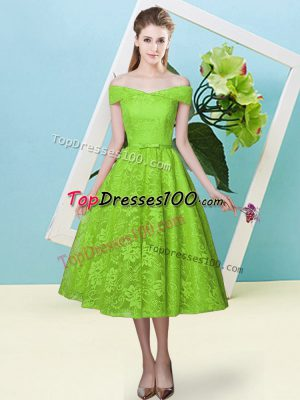 Free and Easy Lace Cap Sleeves Tea Length Quinceanera Court Dresses and Bowknot