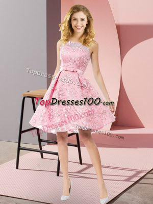 Dramatic A-line Bridesmaid Gown Watermelon Red Scoop Lace Sleeveless Knee Length Zipper
