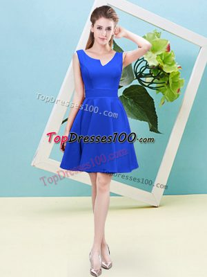 Trendy A-line Dama Dress Blue Asymmetric Satin Sleeveless Mini Length Zipper