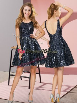 Sophisticated Navy Blue A-line Sequined Scoop Sleeveless Sequins Mini Length Zipper Bridesmaids Dress