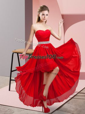 Fantastic Chiffon Sleeveless High Low Court Dresses for Sweet 16 and Beading