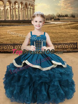 Sweet Straps Sleeveless Kids Formal Wear Floor Length Beading and Ruffles Teal Organza and Taffeta