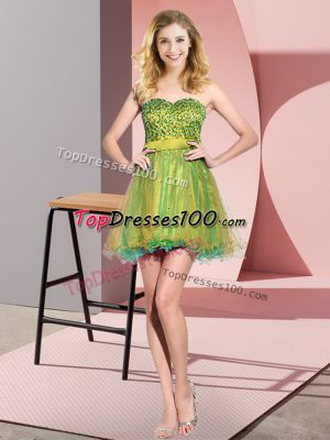 Multi-color Tulle Lace Up Sweetheart Sleeveless Mini Length Wedding Party Dress Beading and Sequins