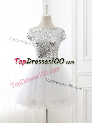 Adorable Tulle Cap Sleeves Mini Length Bridesmaid Gown and Sequins