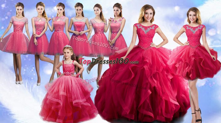 Sleeveless Organza Floor Length Lace Up Quinceanera Dresses in Hot Pink with Beading