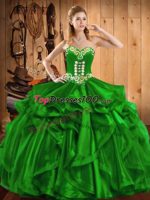 ffcfbfb363c Free and Easy Ball Gowns Embroidery and Ruffles Vestidos de Quinceanera  Lace Up Organza Sleeveless Floor