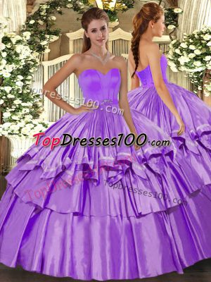 Artistic Sweetheart Sleeveless Sweet 16 Dresses Floor Length Beading and Ruffled Layers Lilac Organza and Taffeta
