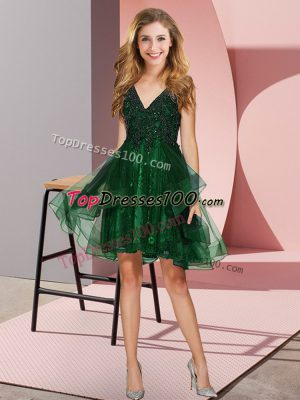 Classical Sleeveless Tulle Knee Length Backless Bridesmaid Dresses in Dark Green with Appliques and Ruffles