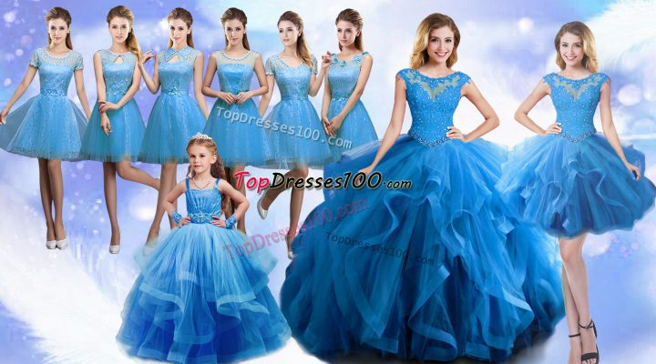 Custom Design Baby Blue Ball Gown Prom Dress Military Ball and Sweet 16 and Quinceanera with Beading and Ruffles Scoop Sleeveless Lace Up