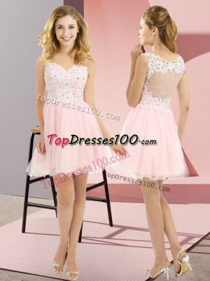 Baby Pink Sleeveless Tulle Lace Up Wedding Guest Dresses for Prom and Party and Wedding Party