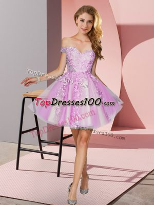 Lilac A-line Tulle Off The Shoulder Sleeveless Appliques Mini Length Zipper Damas Dress
