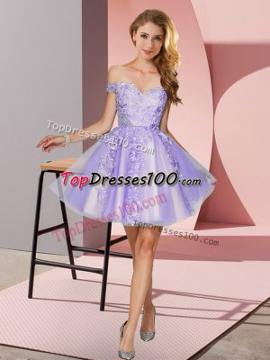 Cheap Mini Length Lavender Bridesmaid Dresses Tulle Sleeveless Appliques