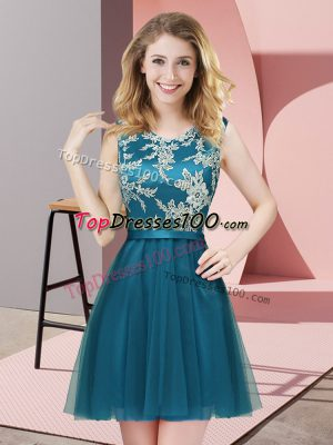 Teal Damas Dress Prom and Party and Wedding Party with Lace Scoop Sleeveless Side Zipper
