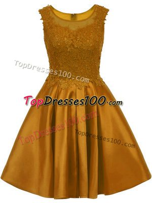 Free and Easy Mini Length Brown Quinceanera Dama Dress Satin Sleeveless Lace