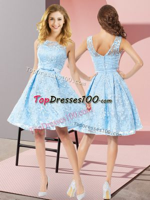 Smart Lace Sleeveless Knee Length Wedding Party Dress and Bowknot