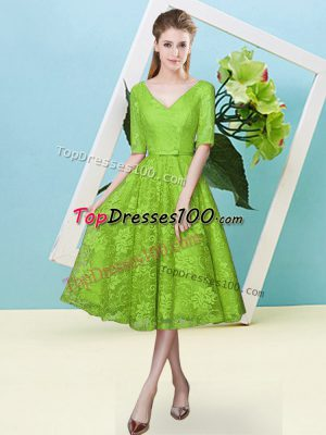 Graceful Lace Up Court Dresses for Sweet 16 Bowknot Half Sleeves Tea Length