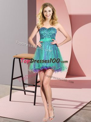 Mini Length Lace Up Bridesmaid Dress Multi-color for Prom and Party and Wedding Party with Beading and Sequins