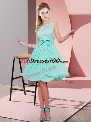 Lace and Bowknot Bridesmaids Dress Apple Green Side Zipper Sleeveless Knee Length