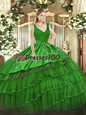 Glamorous Floor Length Green Quinceanera Dresses Organza and Taffeta Sleeveless Beading and Lace and Embroidery and Ruffled Layers