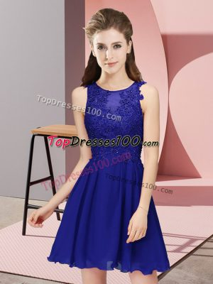 Enchanting Royal Blue Empire Appliques Dama Dress for Quinceanera Zipper Chiffon Sleeveless Mini Length