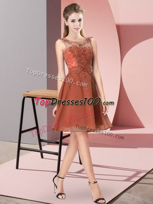 Popular Rust Red Sleeveless Chiffon Zipper Dama Dress for Prom and Party and Wedding Party