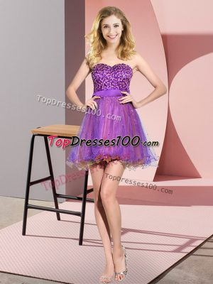Admirable Multi-color Lace Up Sweetheart Beading and Sequins Bridesmaid Gown Tulle Sleeveless