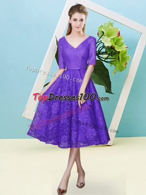 Glorious Half Sleeves Lace Up Tea Length Bowknot Dama Dress for Quinceanera