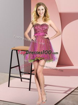 Mini Length Multi-color Bridesmaids Dress Sweetheart Sleeveless Lace Up