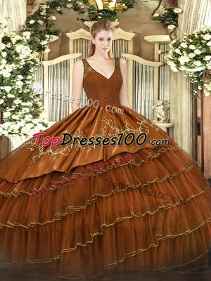 Rust Red Backless V-neck Beading and Lace and Embroidery and Ruffled Layers Sweet 16 Quinceanera Dress Organza and Taffeta Sleeveless