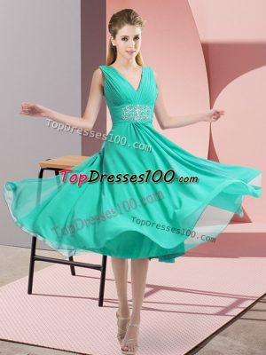 Sophisticated Teal Empire Beading Dama Dress for Quinceanera Side Zipper Chiffon Sleeveless Knee Length