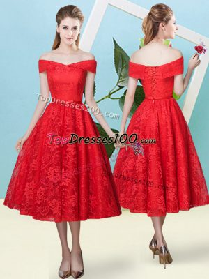 Glorious Lace Off The Shoulder Cap Sleeves Lace Up Bowknot Wedding Guest Dresses in Red